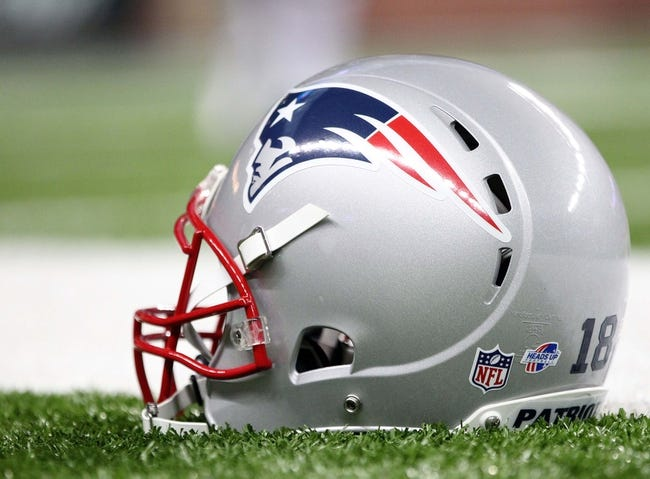 Aug 22, 2013; Detroit, MI, USA; General view of New England Patriots wide receiver Matthew Slater (18) helmet with heads up logo prior to game against the Detroit Lions at Ford Field  Mandatory Credit: Mike Carter-USA TODAY Sports
