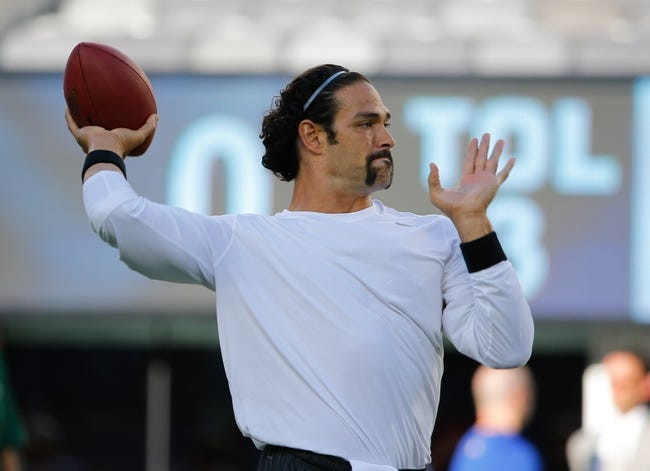 Aug 24, 2013; East Rutherford, NJ, USA; New York Jets quarterback Mark Sanchez (6) warms up prior to the game against the New York Giants at MetLife Stadium. Mandatory Credit: Jim O'Connor-USA TODAY Sports