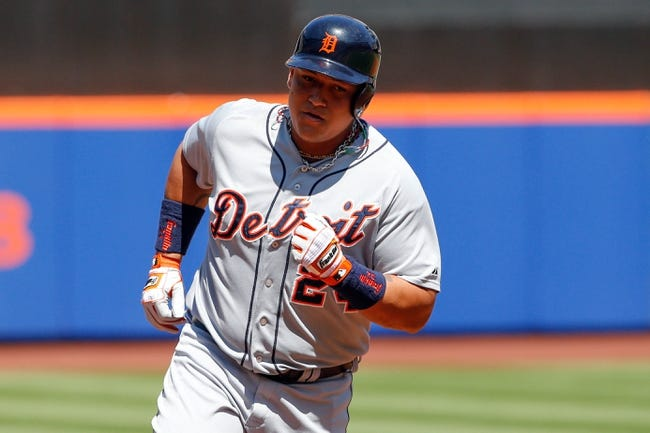 Aug 25, 2013; New York, NY, USA;  Detroit Tigers third baseman Miguel Cabrera (24) rounds the bases on his two run home run during the first inning against the New York Mets at Citi Field. Mandatory Credit: Anthony Gruppuso-USA TODAY Sports