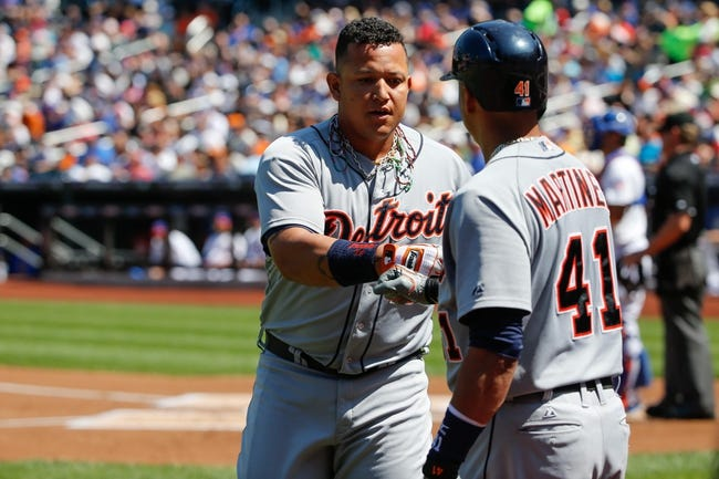 Aug 25, 2013; New York, NY, USA;  Detroit Tigers designated hitter Victor Martinez (41) congratulates third baseman Miguel Cabrera (24) on his two run home run during the first inning against the New York Mets at Citi Field. Mandatory Credit: Anthony Gruppuso-USA TODAY Sports