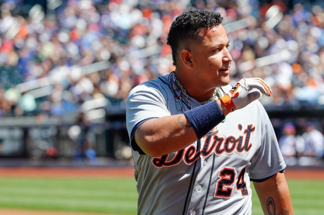 Aug 25, 2013; New York, NY, USA;  Detroit Tigers third baseman Miguel Cabrera (24) acknowledges fans after his two run home run during the first inning against the New York Mets at Citi Field. Mandatory Credit: Anthony Gruppuso-USA TODAY Sports