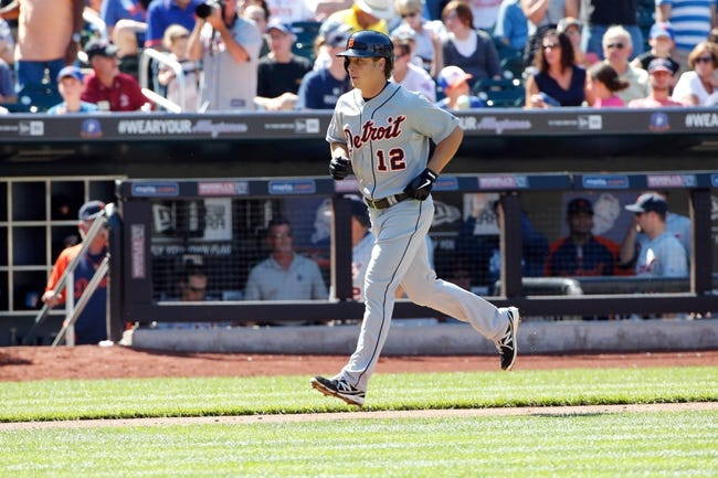 Aug 25, 2013; New York, NY, USA;  Detroit Tigers left fielder Andy Dirks (12) heads home on his two run home run during the sixth inning against the New York Mets at Citi Field. Mandatory Credit: Anthony Gruppuso-USA TODAY Sports