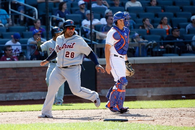 Aug 25, 2013; New York, NY, USA;  Detroit Tigers first baseman Prince Fielder (28) crosses the plate to score during the ninth inning against the New York Mets at Citi Field. Detroit won 11-3.  Mandatory Credit: Anthony Gruppuso-USA TODAY Sports