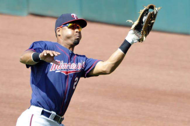Aug 25, 2013; Cleveland, OH, USA; Minnesota Twins right fielder Wilkin Ramirez (22) makes a catch in the fifth inning against the Cleveland Indians at Progressive Field. Mandatory Credit: David Richard-USA TODAY Sports