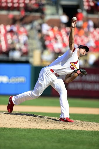 Aug 25, 2013; St. Louis, MO, USA; St. Louis Cardinals relief pitcher Michael Wacha (52) throws to a Atlanta Braves batter during the ninth inning at Busch Stadium. Atlanta defeated St. Louis 5-2. Mandatory Credit: Jeff Curry-USA TODAY Sports