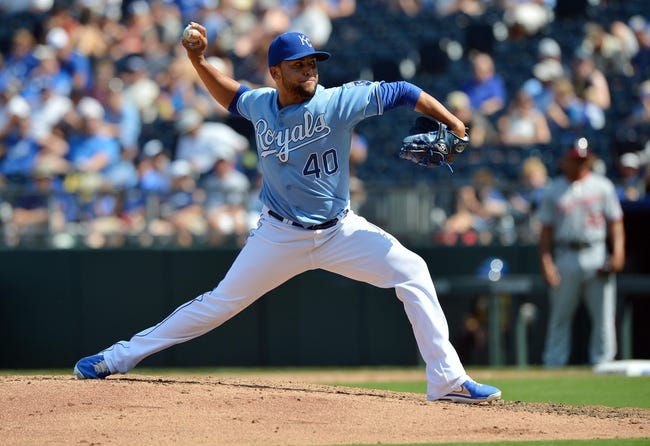 Aug 25, 2013; Kansas City, MO, USA; Kansas City Royals pitcher Kelvin Herrera (40) delivers a pitch against the Washington Nationals during the sevent inning at Kauffman Stadium.  Kansas City beat Washington 6-4.  Mandatory Credit: Peter G. Aiken-USA TODAY Sports