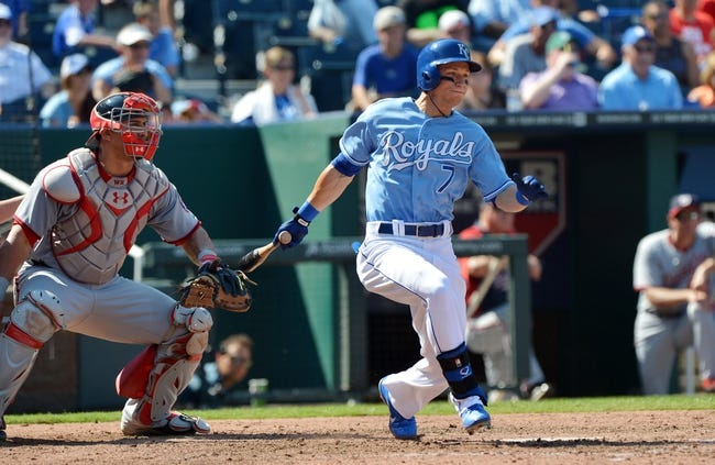 Aug 25, 2013; Kansas City, MO, USA; Kansas City Royals right fielder David Lough (7) singles in a run against the Washington Nationals during the eighth inning at Kauffman Stadium.  Kansas City beat Washington 6-4.  Mandatory Credit: Peter G. Aiken-USA TODAY Sports