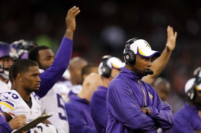 Aug 25, 2013; San Francisco, CA, USA; Minnesota Vikings head coach Leslie Frazier watches action from the sideline against the San Francisco 49ers in the fourth quarter at Candlestick Park. The 49ers defeated the Vikings 34-14. Mandatory Credit: Cary Edmondson-USA TODAY Sports