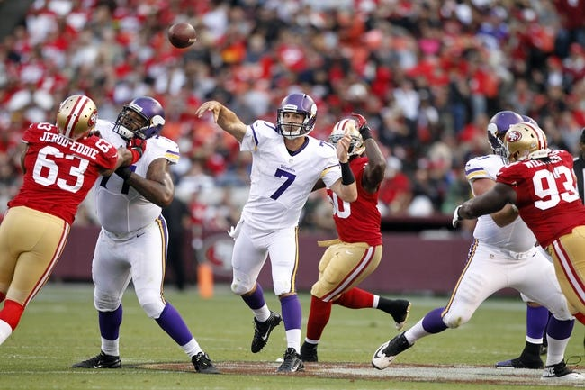 Aug 25, 2013; San Francisco, CA, USA; Minnesota Vikings quarterback Christian Ponder (7) throws a pass against the San Francisco 49ers in the third quarter at Candlestick Park. The 49ers defeated the Vikings 34-14. Mandatory Credit: Cary Edmondson-USA TODAY Sports