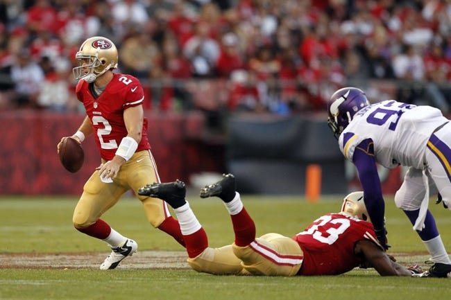 Aug 25, 2013; San Francisco, CA, USA; San Francisco 49ers quarterback Colt McCoy (2) looks to pass the ball against Minnesota Vikings in the third quarter at Candlestick Park. The 49ers defeated the Vikings 34-14. Mandatory Credit: Cary Edmondson-USA TODAY Sports