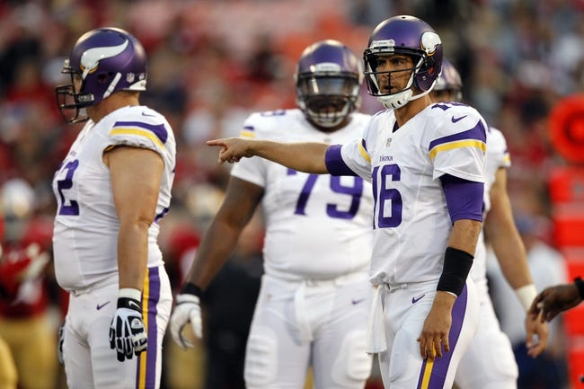 Aug 25, 2013; San Francisco, CA, USA; Minnesota Vikings quarterback Matt Cassel (16) reacts after a penalty against the San Francisco 49ers in the fourth quarter at Candlestick Park. The 49ers defeated the Vikings 34-14. Mandatory Credit: Cary Edmondson-USA TODAY Sports