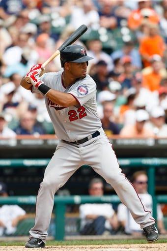 Aug 22, 2013; Detroit, MI, USA; Minnesota Twins left fielder Wilkin Ramirez (22) at bat against the Detroit Tigers at Comerica Park. Mandatory Credit: Rick Osentoski-USA TODAY Sports