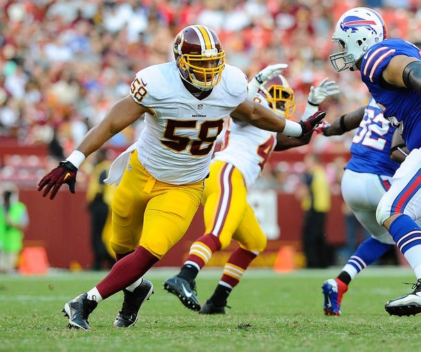 Aug 24, 2013; Landover, MD, USA; Washington Redskins linebacker Vic So'oto (58) rushes the passer against the Buffalo Bills during the second half at FedEX Field. Mandatory Credit: Brad Mills-USA TODAY Sports