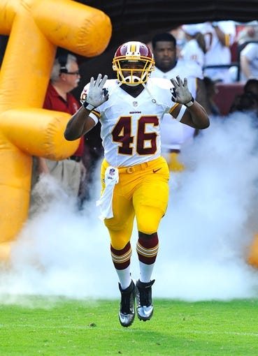 Aug 24, 2013; Landover, MD, USA; Washington Redskins running back Alfred Morris (46) takes the field before the game against the Buffalo Bills at FedEX Field. Mandatory Credit: Brad Mills-USA TODAY Sports