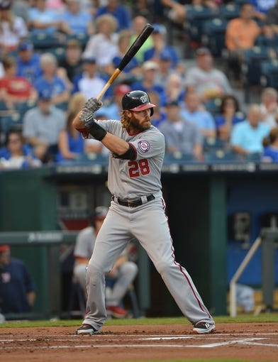 Aug 23, 2013; Kansas City, MO, USA;  Washington Nationals designated hitter Jayson Werth  (28) at bat against the Kansas City Royals during the first inning at Kauffman Stadium.  Mandatory Credit: Peter G. Aiken-USA TODAY Sports