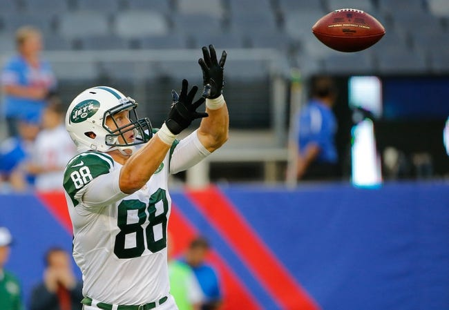 Aug 24, 2013; East Rutherford, NJ, USA; New York Jets tight end Konrad Reuland (88) prior to the game against the New York Giants at MetLife Stadium. Mandatory Credit: Jim O'Connor-USA TODAY Sports