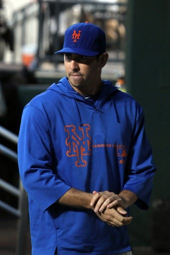 Aug 26, 2013; New York, NY, USA; New York Mets injured starting pitcher Matt Harvey (33) in the dugout during the first inning of a game against the Philadelphia Phillies at Citi Field. Mandatory Credit: Brad Penner-USA TODAY Sports