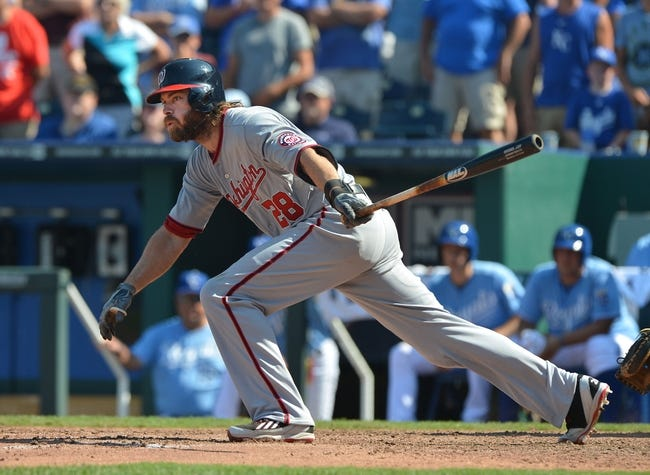 Aug 25, 2013; Kansas City, MO, USA; Washington Nationals batter Jayson Werth (28) singles against the Kansas City Royals during the ninth inning at Kauffman Stadium.  Kansas City won 6-4.  Mandatory Credit: Peter G. Aiken-USA TODAY Sports