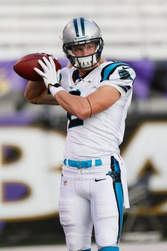 Aug 22, 2013; Baltimore, MD, USA; Carolina Panthers wide receiver Brenton Bersin (2) warms up prior to the game against the Baltimore Ravens at M&T Bank Stadium. Mandatory Credit: Mitch Stringer-USA TODAY Sports