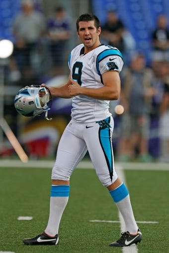Aug 22, 2013; Baltimore, MD, USA; Carolina Panthers kicker Graham Gano (9) warms up prior to the game against the Baltimore Ravens at M&T Bank Stadium. Mandatory Credit: Mitch Stringer-USA TODAY Sports