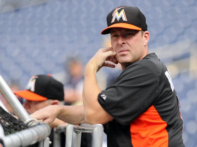 Aug 27, 2013; Washington, DC, USA; Miami Marlins manager Mike Redmond on the field before the game against the Washington Nationals at Nationals Park. Mandatory Credit: Brad Mills-USA TODAY Sports
