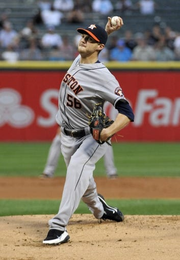 Aug 27, 2013; Chicago, IL, USA; Houston Astros starting pitcher Paul Clemens (56) pitches against the Chicago White Sox during the first inning at U.S. Cellular Field. Mandatory Credit: David Banks-USA TODAY Sports
