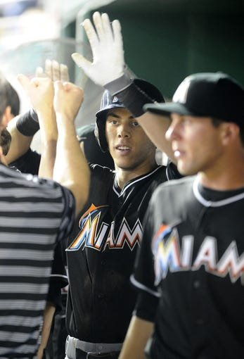 Aug 27, 2013; Washington, DC, USA; Miami Marlins left fielder Christian Yelich (21) is congratulated in the dugout after hitting a solo home run during the sixth inning against the Washington Nationals at Nationals Park. Mandatory Credit: Brad Mills-USA TODAY Sports