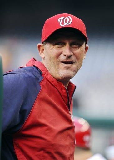 Aug 27, 2013; Washington, DC, USA; Washington Nationals bench coach Randy Knorr in the dugout before the game against the Miami Marlins at Nationals Park. Mandatory Credit: Brad Mills-USA TODAY Sports