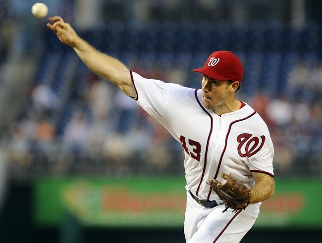 Aug 27, 2013; Washington, DC, USA; Washington Nationals starting pitcher Ross Ohlendorf (43) throws during the second inning against the Miami Marlins at Nationals Park. Mandatory Credit: Brad Mills-USA TODAY Sports