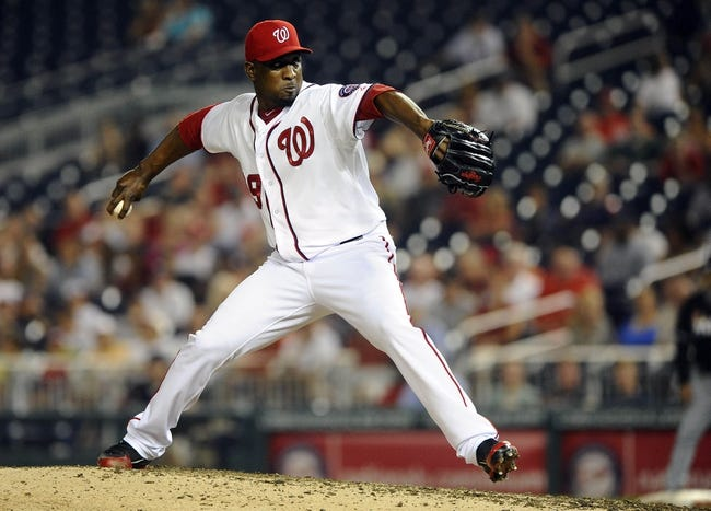 Aug 27, 2013; Washington, DC, USA; Washington Nationals relief pitcher Rafael Soriano (29)  throws during the ninth inning against the Miami Marlins at Nationals Park. Mandatory Credit: Brad Mills-USA TODAY Sports