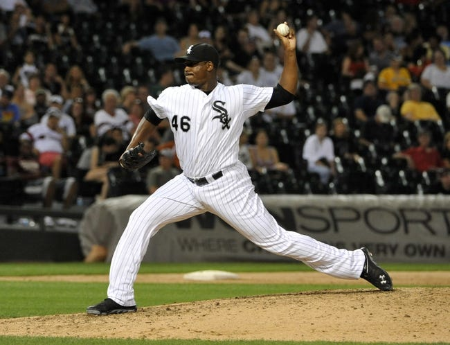 Aug 27, 2013; Chicago, IL, USA; Chicago White Sox relief pitcher Donnie Veal (46) pitches against the Houston Astros during the eighth inning at U.S. Cellular Field. The Chicago White Sox defeated the Houston Astros 4-3. Mandatory Credit: David Banks-USA TODAY Sports