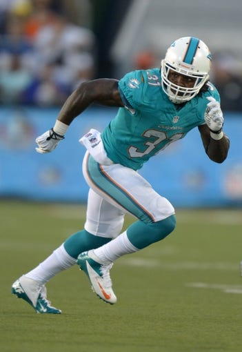 Aug 4, 2013; Canton, OH, USA; Miami Dolphins cornerback Richard Marshall (31) during the 2013 Hall of Fame Game against the Dallas Cowboys at Fawcett Stadium. The Cowboys defeated the Dolphins 24-20. Mandatory Credit: Kirby Lee-USA TODAY Sports