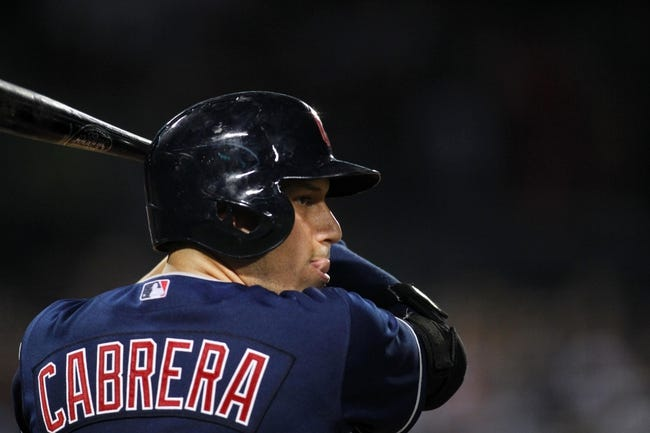 Aug 29, 2013; Atlanta, GA, USA; Cleveland Indians shortstop Asdrubal Cabrera (13) prepares for an at bat against the Atlanta Braves in the ninth inning at Turner Field. The Braves defeated the Indians 3-1. Mandatory Credit: Brett Davis-USA TODAY Sports