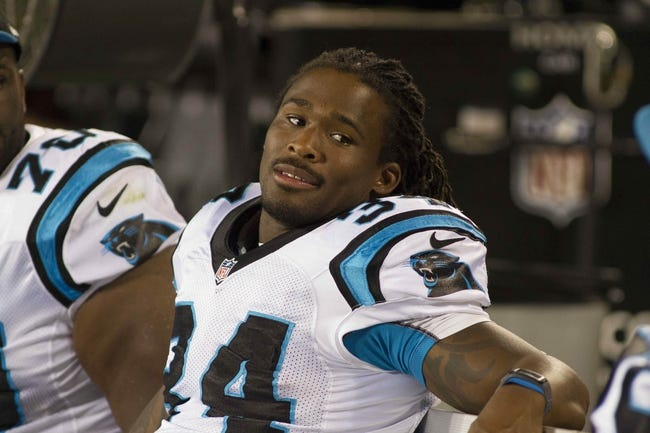 Aug 29, 2013; Charlotte, NC, USA; Carolina Panthers running back DeAngelo Williams (34) sits on the bench during the fourth quarter against the Pittsburgh Steelers at Bank of America Stadium. The Panthers defeated the Steelers 25-10. Mandatory Credit: Jeremy Brevard-USA TODAY Sports
