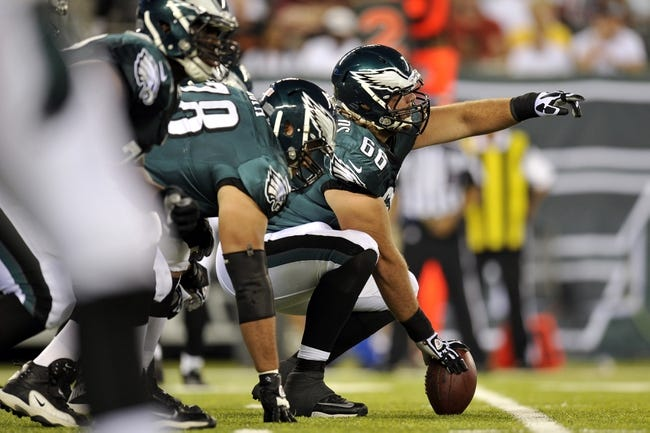 Aug 29, 2013; East Rutherford, NJ, USA; Philadelphia Eagles center Dallas Reynolds (66) calls out at a play against the New York Jets during the second half of a preseason game at Metlife Stadium. The Jets won 27-20. Mandatory Credit: Joe Camporeale-USA TODAY Sports