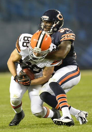 Aug 29, 2013; Chicago, IL, USA; Cleveland Browns wide receiver Josh Cooper (88) makes a catch against Chicago Bears cornerback Demontre Hurst (30) during the fourth quarter at Soldier Field. The Cleveland Browns defeat the Chicago Bears 18-16. Mandatory Credit: Mike DiNovo-USA TODAY Sports
