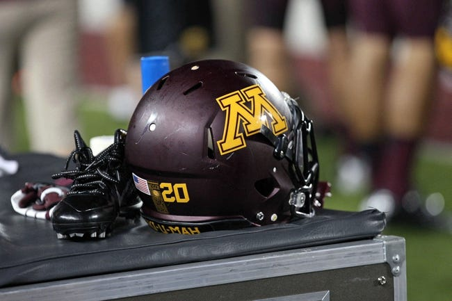 Aug 29, 2013; Minneapolis, MN, USA; A general view of a Minnesota Golden Gophers helmet during the fourth quarter against the UNLV Rebels at TCF Bank Stadium. The Gophers won 51-23. Mandatory Credit: Jesse Johnson-USA TODAY Sports