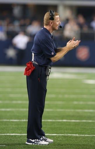 Aug 29, 2013; Arlington, TX, USA; Dallas Cowboys head coach Jason Garrett on the sidelines during the second half against the Houston Texans at AT&T Stadium. Mandatory Credit: Matthew Emmons-USA TODAY Sports