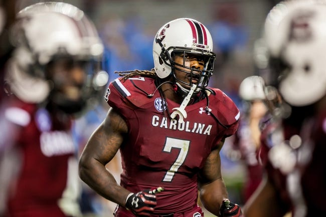 Aug 29, 2013; Columbia, SC, USA; South Carolina Gamecocks defensive end Jadeveon Clowney (7) against the North Carolina Tar Heels in the fourth quarter at Williams-Brice Stadium. Mandatory Credit: Jeff Blake-USA TODAY Sports