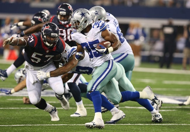 Aug 29, 2013; Arlington, TX, USA; Dallas Cowboys running back Joseph Randle (35) runs with the ball in the fourth quarter against the Houston Texans at AT&T Stadium. Mandatory Credit: Matthew Emmons-USA TODAY Sports