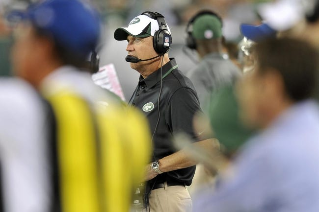Aug 29, 2013; East Rutherford, NJ, USA; New York Jets head coach Rex Ryan looks on against the Philadelphia Eagles during the first half of a preseason game at Metlife Stadium. The Jets won 27-20. Mandatory Credit: Joe Camporeale-USA TODAY Sports