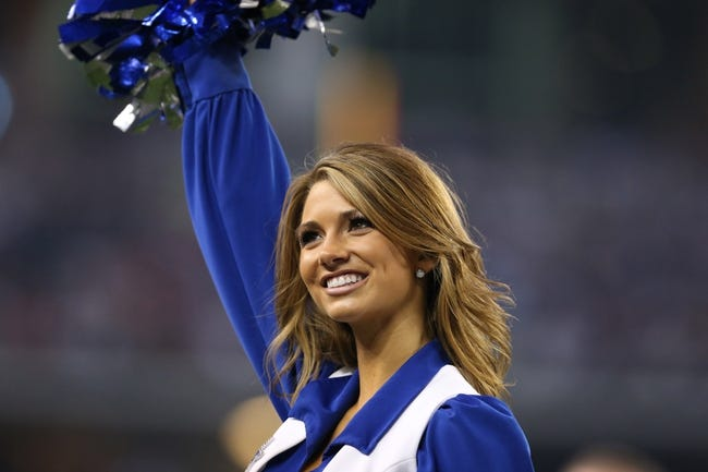 Aug 29, 2013; Arlington, TX, USA; Dallas Cowboys cheerleader Katie Marie performs on the sidelines during the second half against the Houston Texans at AT&T Stadium. Mandatory Credit: Matthew Emmons-USA TODAY Sports