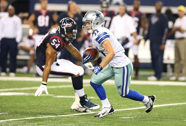 Aug 29, 2013; Arlington, TX, USA; Dallas Cowboys receiver Cole Beasley (11) during the second half against the Houston Texans at AT&T Stadium. Mandatory Credit: Matthew Emmons-USA TODAY Sports