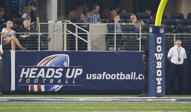 Aug 29, 2013; Arlington, TX, USA; A general view of the heads ups football banner in the end zone during the game between the Dallas Cowboys and the Houston Texans at AT&T Stadium. Houston beat Dallas 24-6. Mandatory Credit: Tim Heitman-USA TODAY Sports