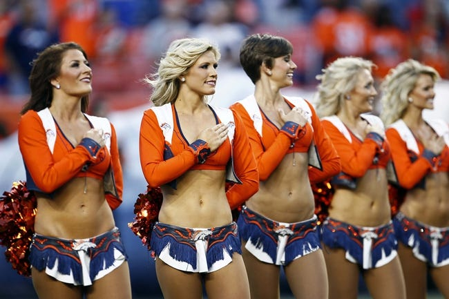 Aug 29, 2013; Denver, CO, USA; Denver Broncos cheerleaders before the start of the game against the Arizona Cardinals at Sports Authority Field at Mile High. The Cardinals won 32-24. Mandatory Credit: Isaiah J. Downing-USA TODAY Sports
