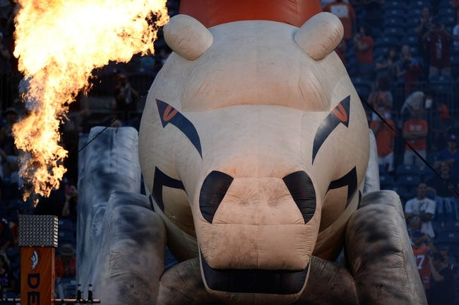 Aug 29, 2013; Denver, CO, USA; General view of a Denver Broncos blow up mascot before the game against the Arizona Cardinals at Sports Authority Field. The Cardinals defeated the Broncos 32-24. Mandatory Credit: Ron Chenoy-USA TODAY Sports
