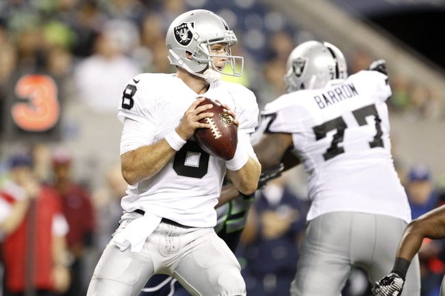 Aug 29, 2013; Seattle, WA, USA; Oakland Raiders quarterback Tyler Wilson (8) looks to pass against the Seattle Seahawks during the second half at CenturyLink Field. Mandatory Credit: Joe Nicholson-USA TODAY Sports