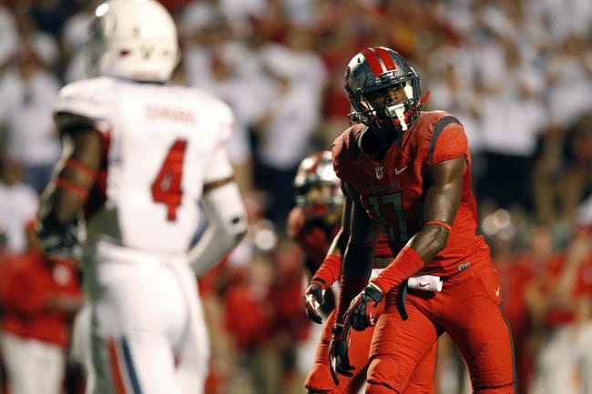 Aug 29, 2013; Fresno, CA, USA; Rutgers Scarlet Knights wide receiver Brandon Coleman (17) prepares to run a route against the Fresno State Bulldogs in the fourth quarter at Bulldog Stadium. The Bulldogs defeated the Scarlet Knights 52-51 in overtime. Mandatory Credit: Cary Edmondson-USA TODAY Sports