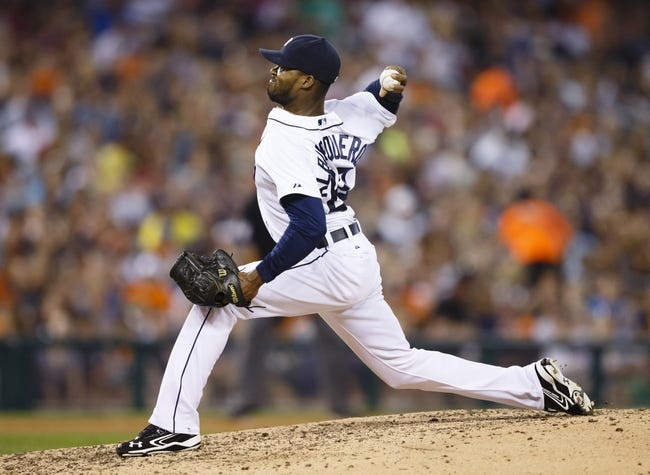 Aug 30, 2013; Detroit, MI, USA; Detroit Tigers relief pitcher Al Alburquerque (62) pitches sixth inning against the Cleveland Indians at Comerica Park. Mandatory Credit: Rick Osentoski-USA TODAY Sports