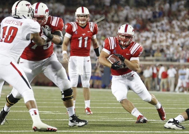 Aug 30, 2013; Dallas, TX, USA; Southern Methodist Mustangs running back Prescott Line (29) carries the ball in the third quarter of the game against the Texas Tech Red Raiders at Gerald J. Ford Stadium. Texas Tech won 41-23. Mandatory Credit: Tim Heitman-USA TODAY Sports